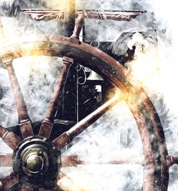Symbol of adventure voyage, tourism, outdoor. Hand drawn retro steering wheel illustration