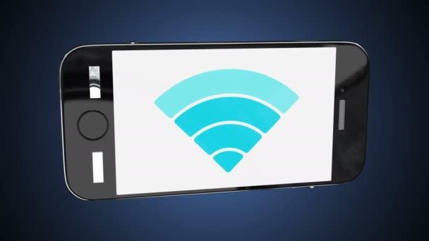 Smartphone s animované ikony bezdrátové sítě