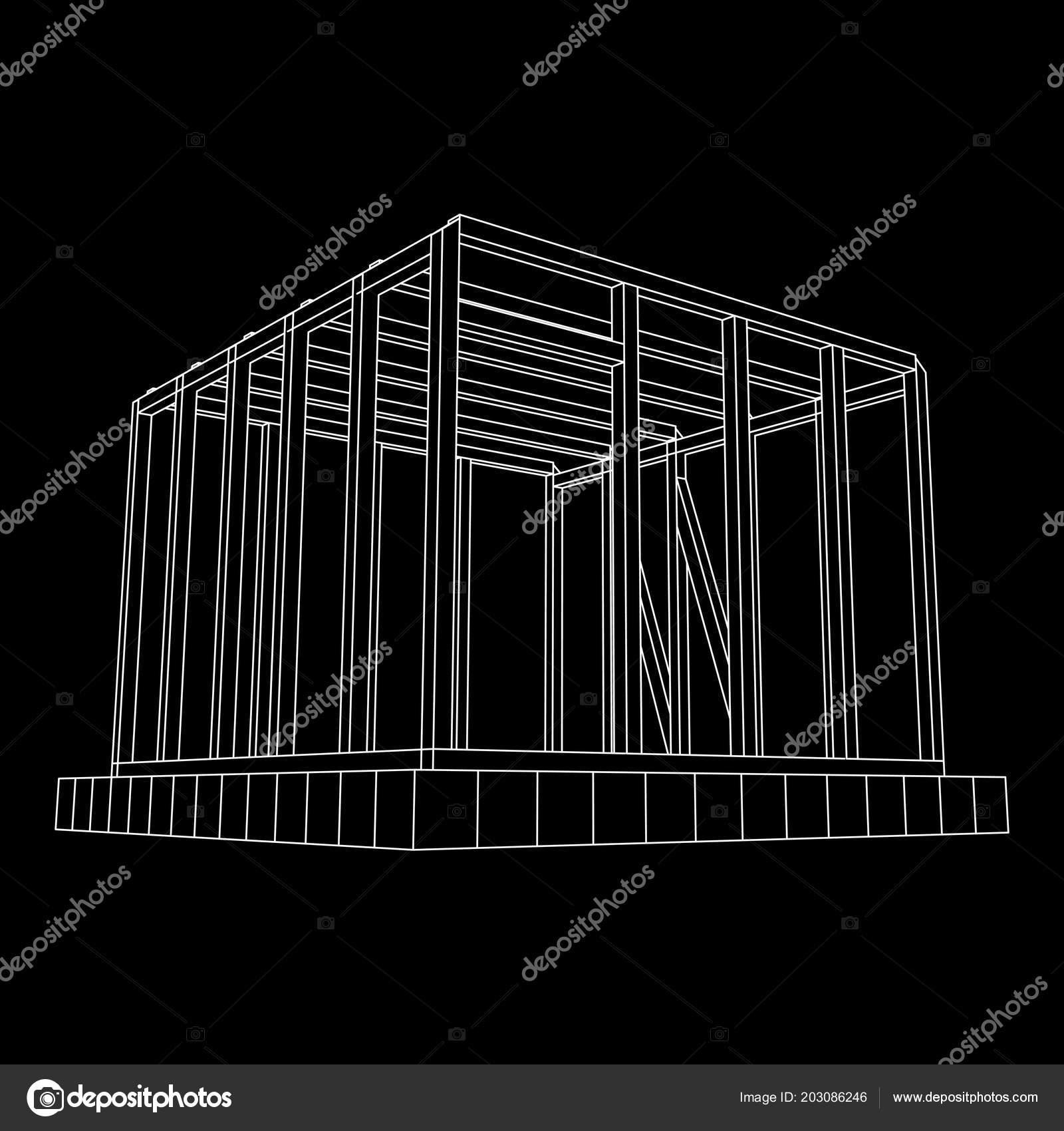 Casa de estructura de alambre — Vector de stock © newb1 #203086246