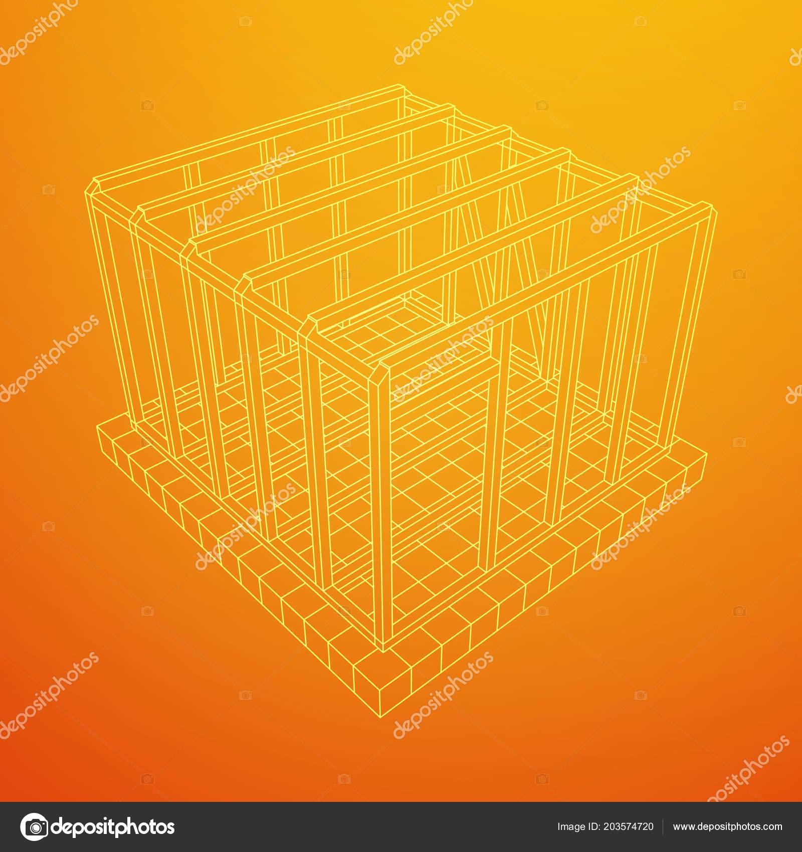 Casa de estructura de alambre — Vector de stock © newb1 #203574720