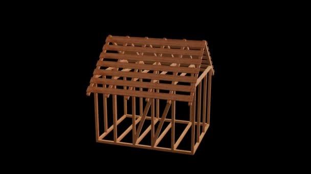 Dřevěnými trámy domu