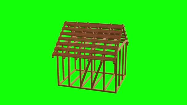 Abstraktní architektura budovy. Plán domu moderních rámování. Dřevěná konstrukce domů. vykreslení 3D Hd záběry pro svůj design.