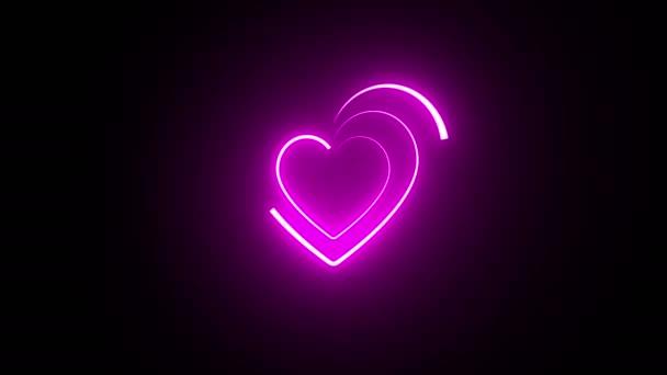 Fényes neon jel szív.