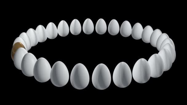 uovo doro di fila delle uova bianche. 3D.