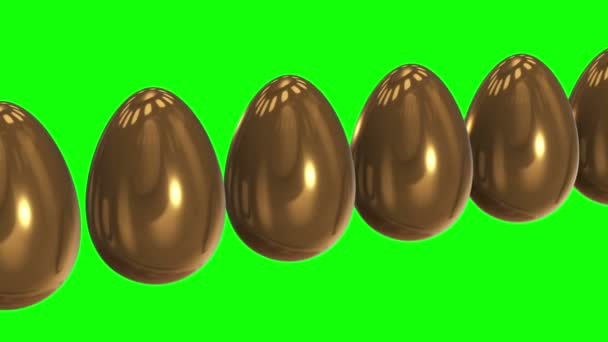 White egg in a row of the golden eggs. 3D.