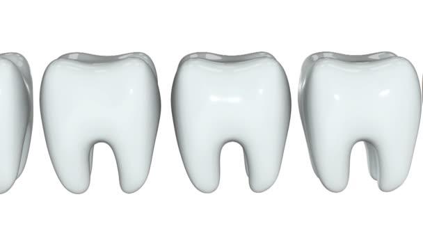 Dente doro in fila di denti bianchi. 3d.