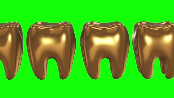 weiße Zähne in einer Reihe der Goldzähne. 3d.