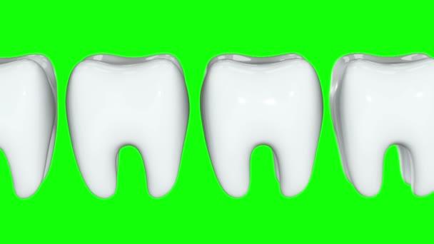 rote Zähne in einer Reihe der weißen Zähne. 3d.
