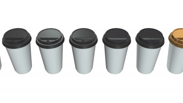 Disposable coffee cups  Row of Blank paper mug with plastic cap