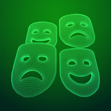 Theatrical masks tragedy and comedy character. Wireframe low poly mesh vector illustration. icon