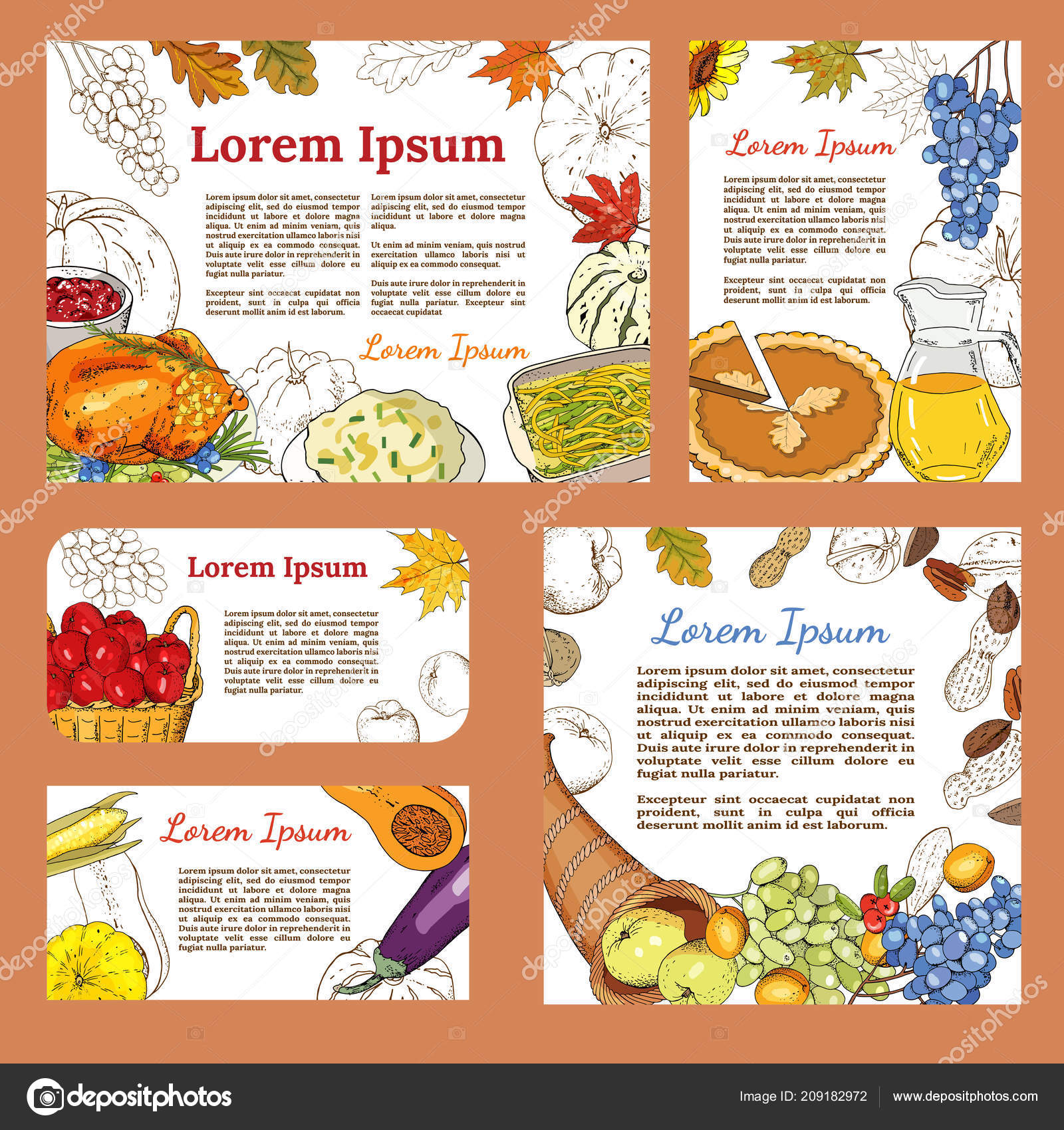 Greeting Posters Banners Symbols Thanksgiving Roast Turkey Pumpkin