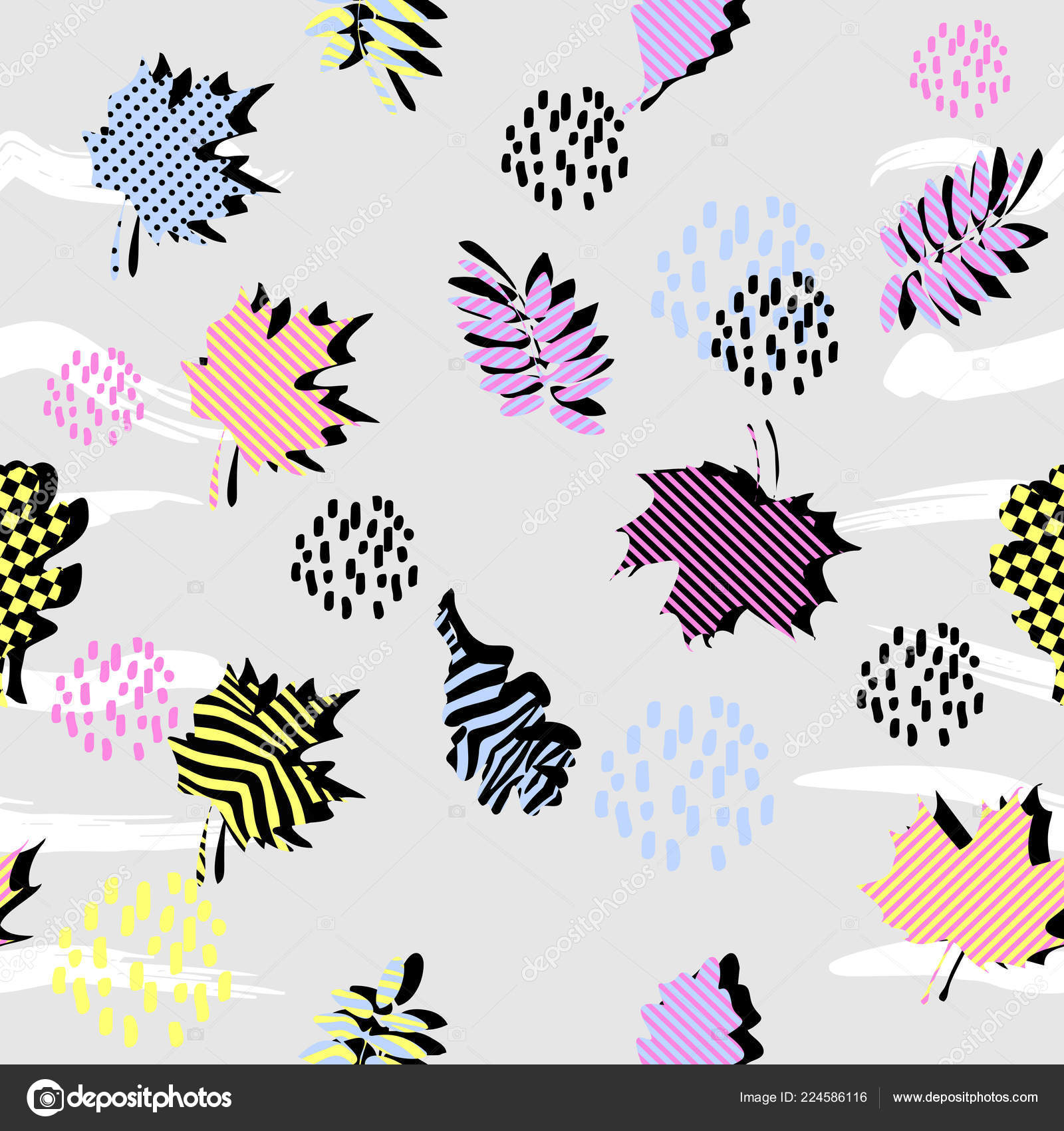 Colorful Leaves Seamless Pattern Vector Illustration Memphis
