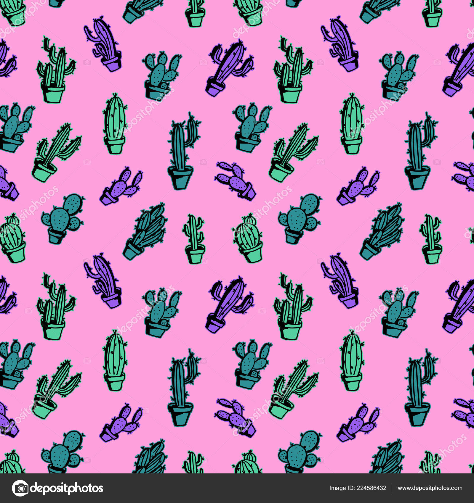 Cactus Trendy Pastel Colorful Seamless Pattern Cute Background