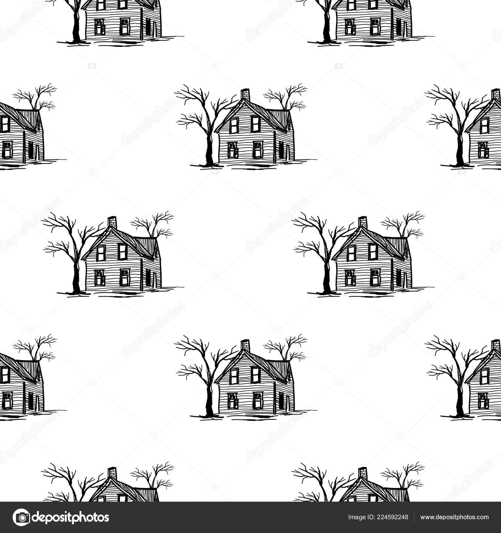 Halloween Spooky House Drawing.Drawings Of Haunted House Halloween Pattern Spooky