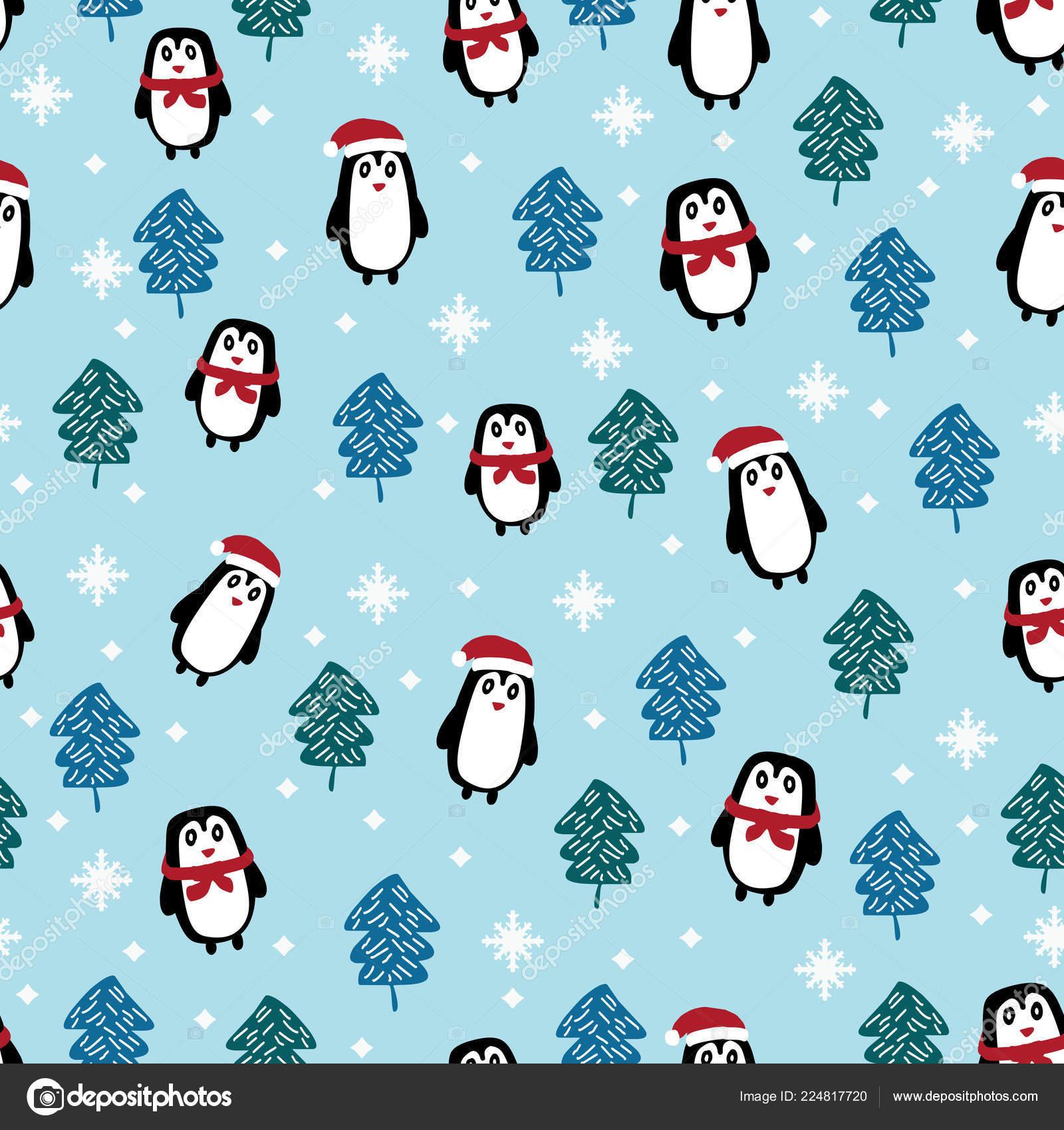 Christmas Pattern Penguin Cartoon Funny