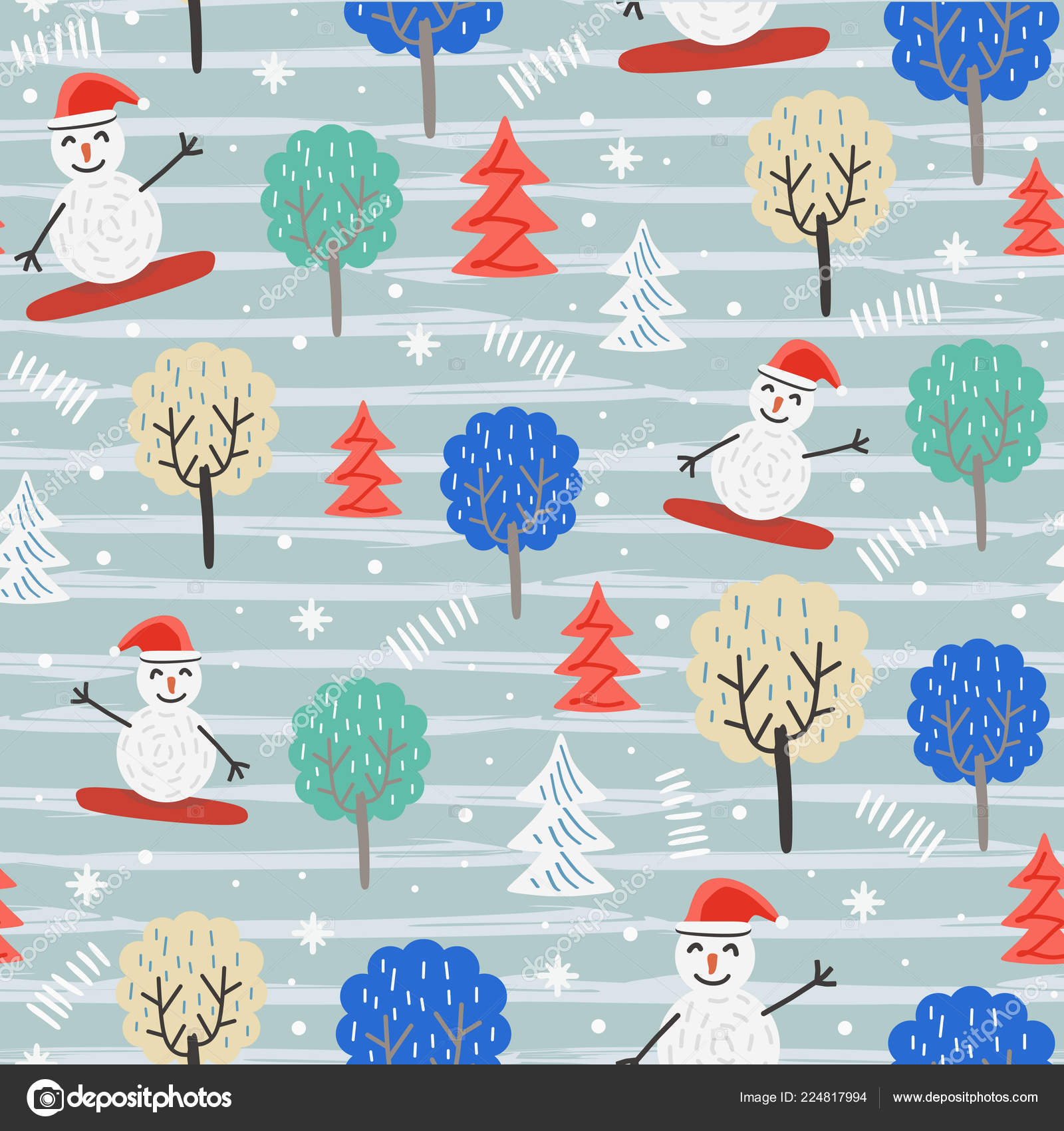 Fun Christmas Pattern Snowman Trees Vector Illustration