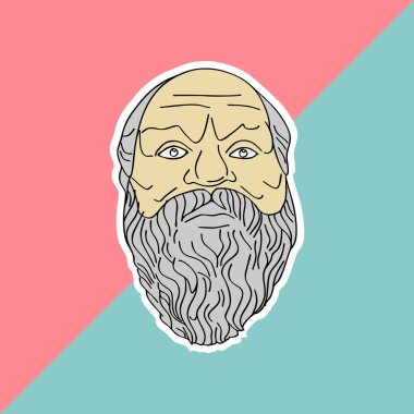 Socrates hand drawn vector isolated on pastel colors background. Trendy punchy pastels with vintage drawing ancient philosopher.