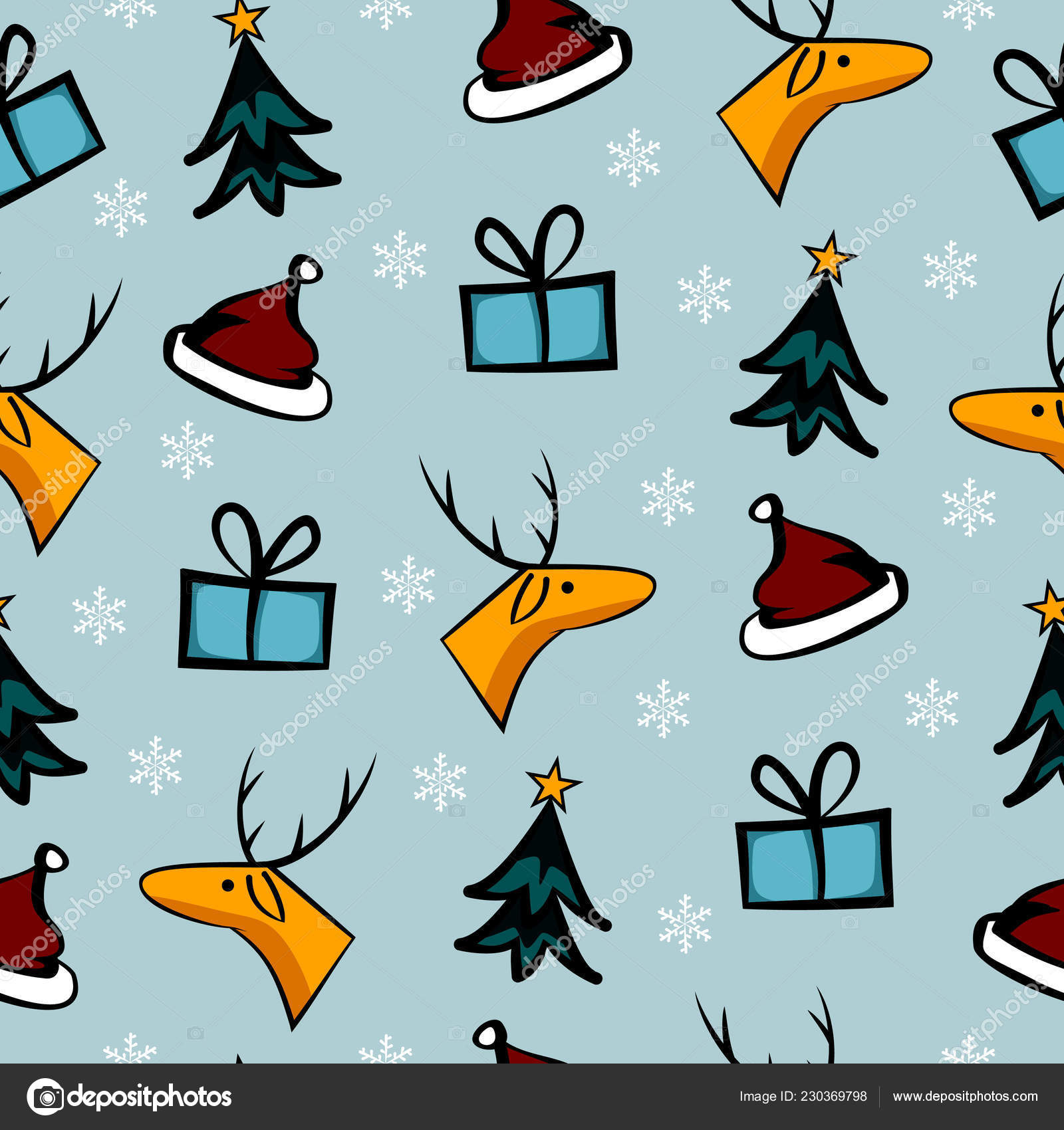 Colorful Christmas Background For Kids.Cute Christmas Doodle Seamless Pattern Colorful Background