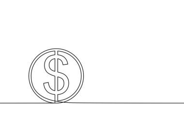 continuous line drawing of dollar coin vector illustration
