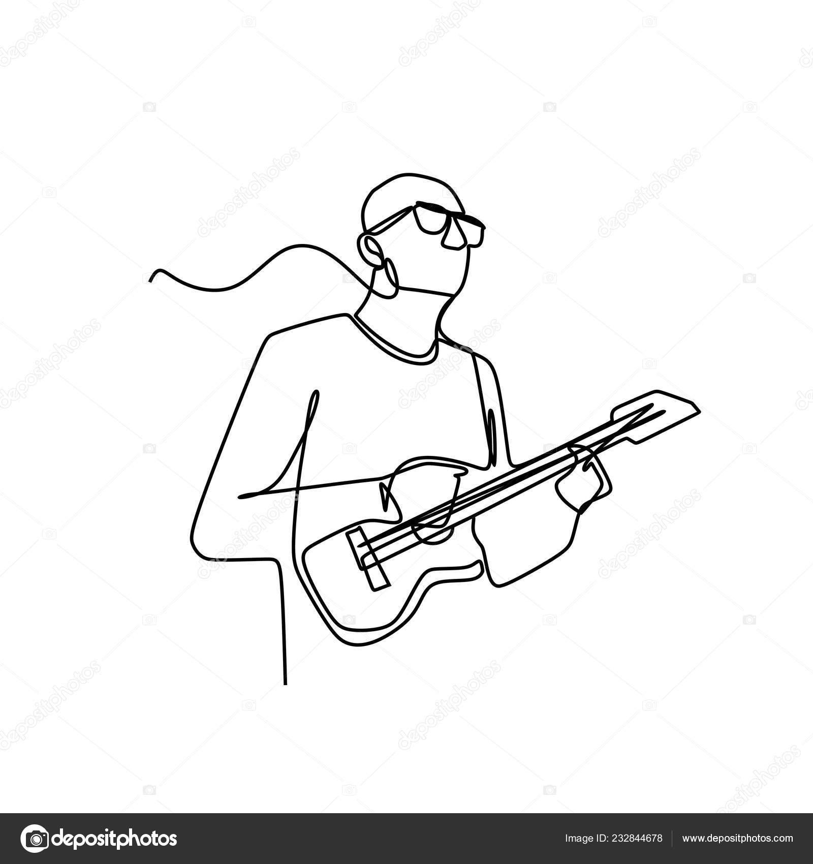 Jedna Kresba Muzske Muze Hrat Ukulele Kytara Vektorove Ilustrace