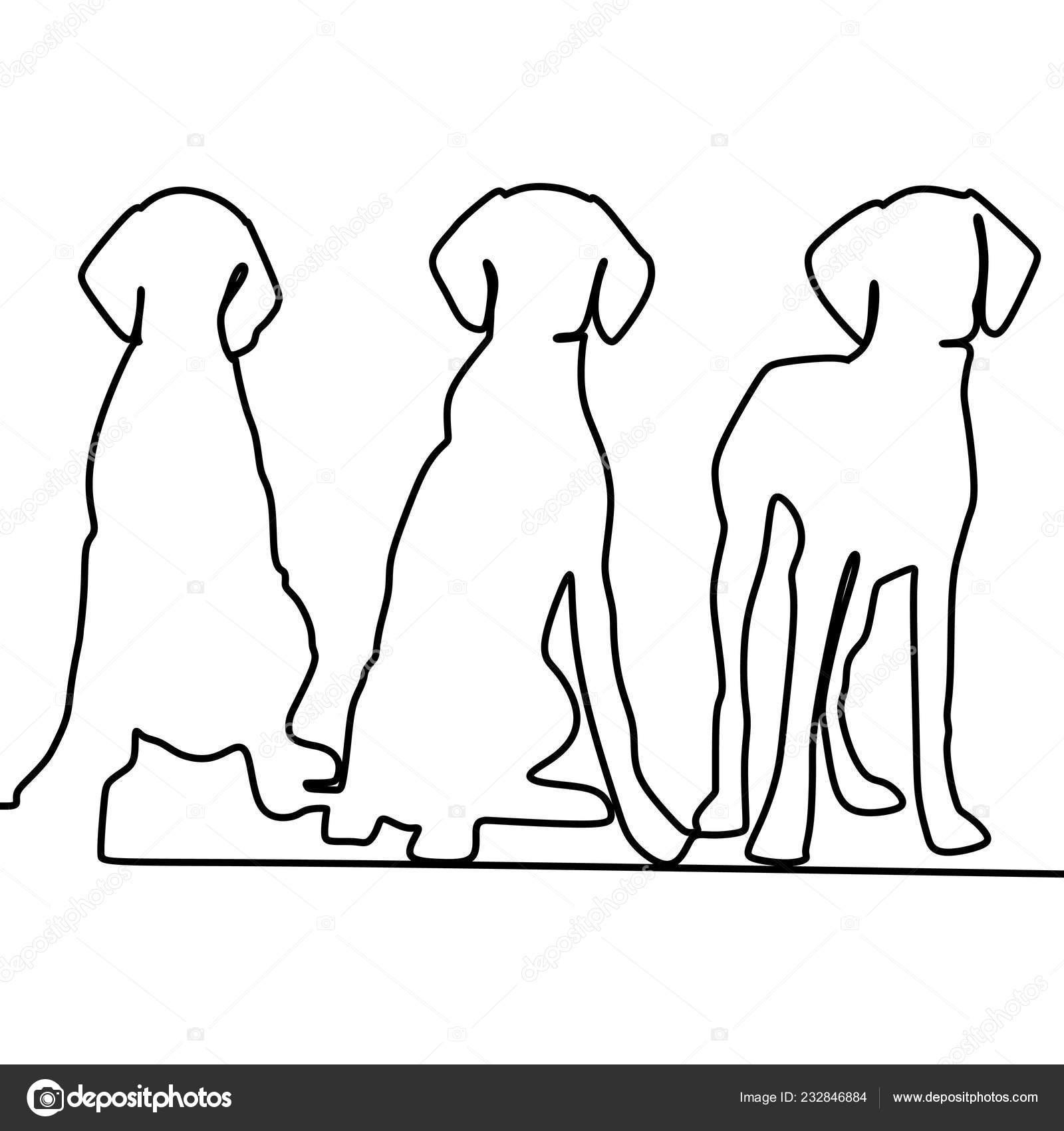 Drie Honden Vector Illustratie Met Continu Een Enkellijns Kunst