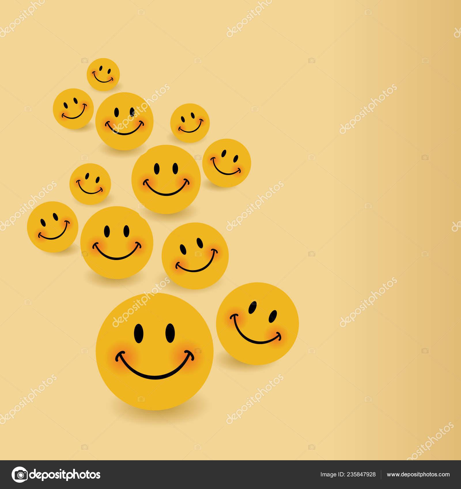 Smile Icon Background Template Smiley Faces Design