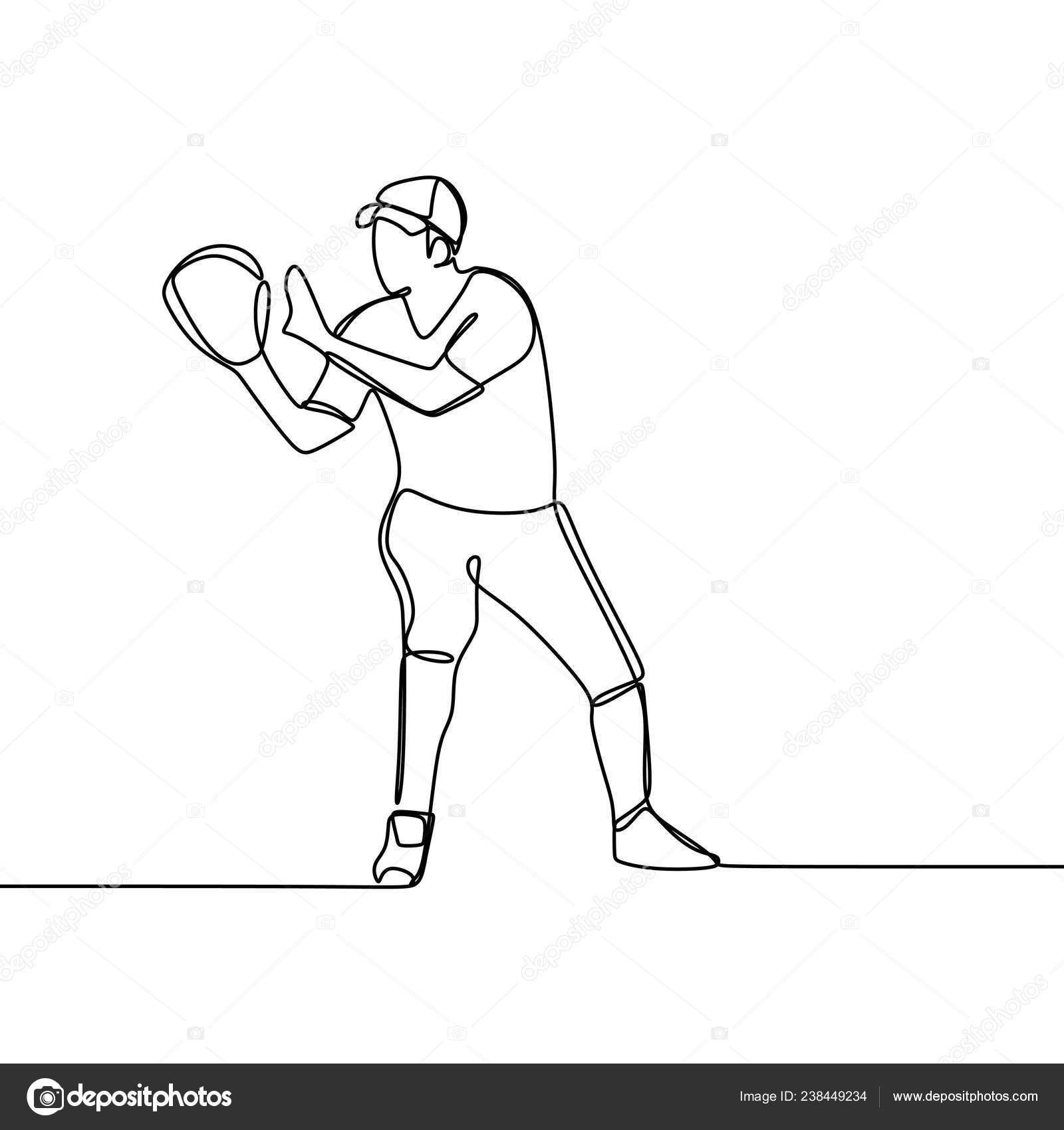 One Line Drawing Baseball Player Ready Catch Ball Vector