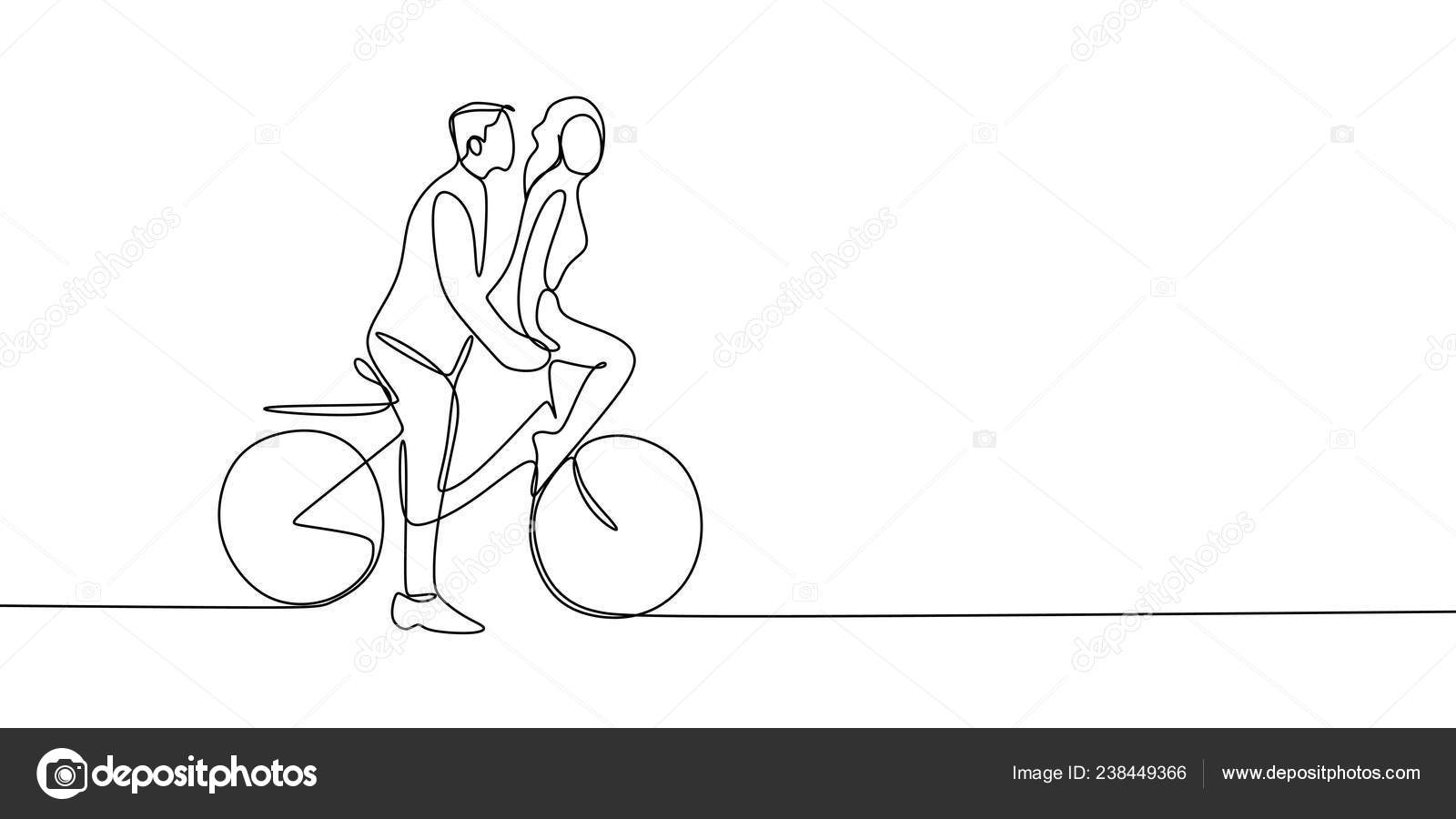 Continuous Line Drawing Cute Romantic Young Couple Love