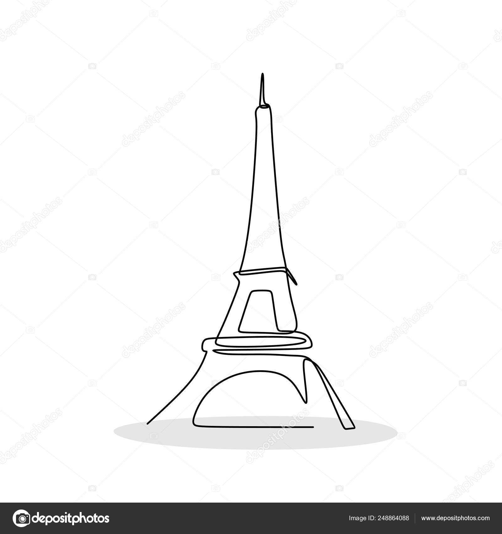 Drawings Line Drawing Of The Eiffel Tower Eiffel Tower Paris One Line Drawing Vector Illustration Stock Vector C Ngupakarti 248864088