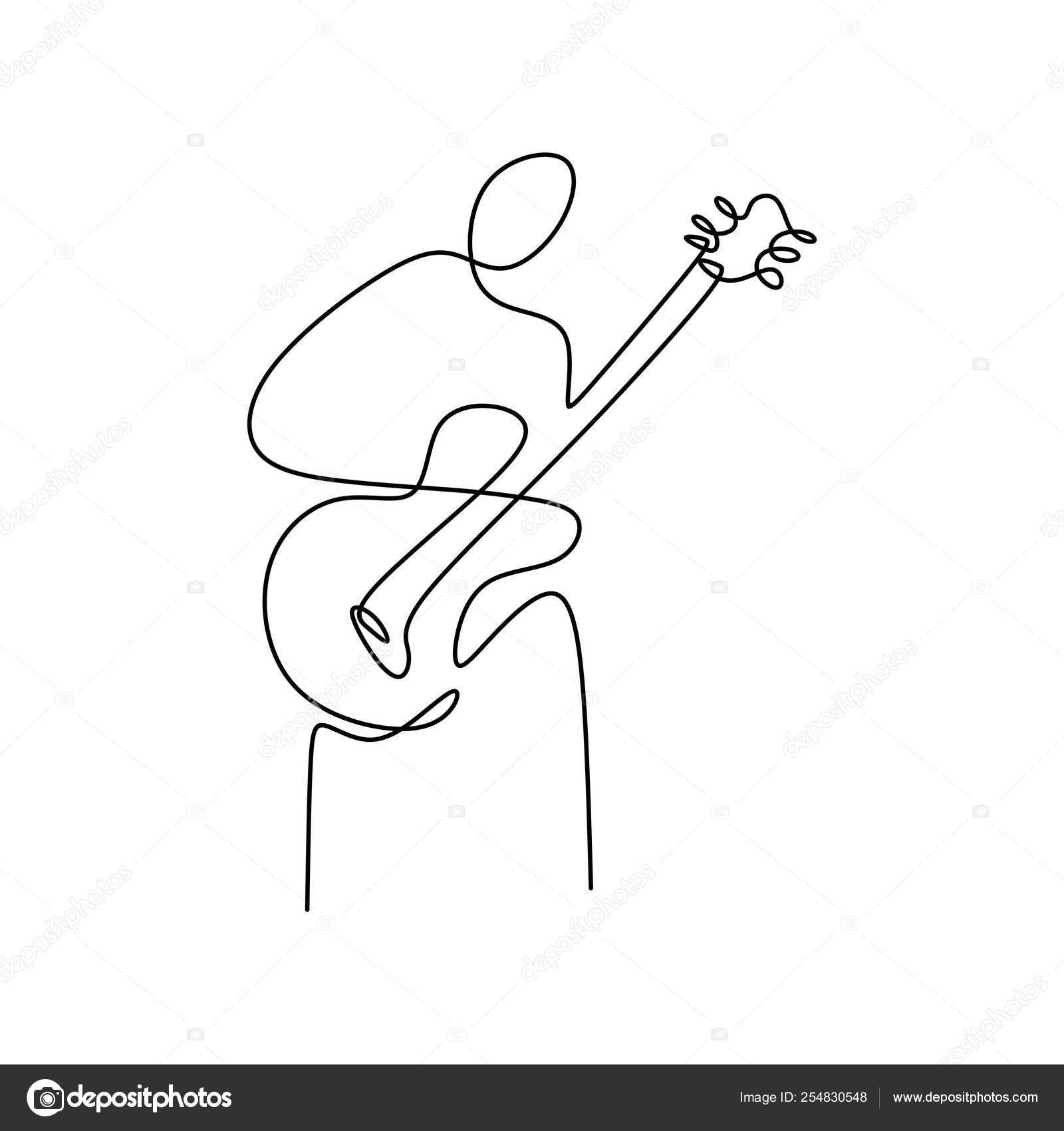 Dibujos Línea Continua Tocando Guitarra Con Diseño