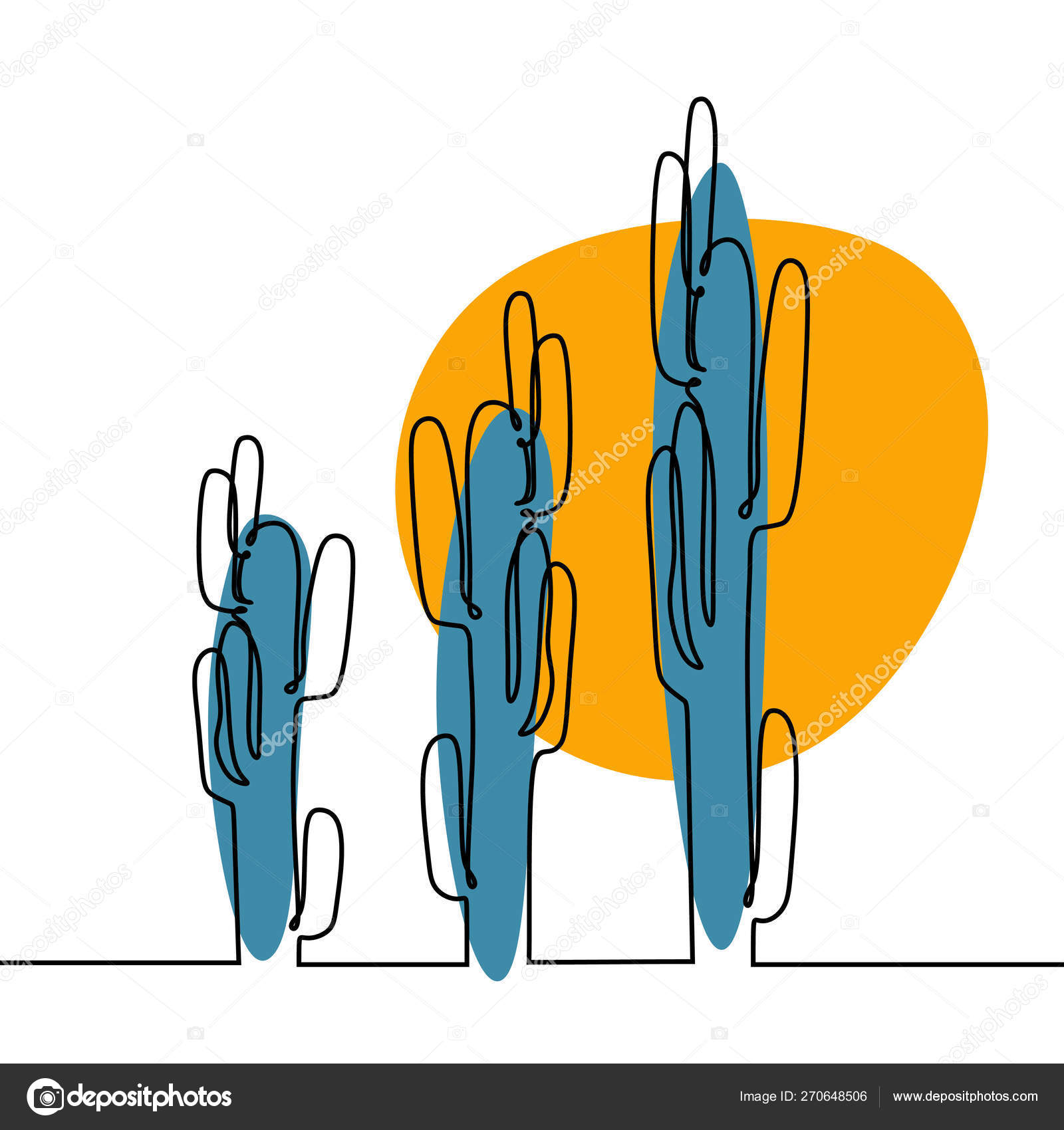 One Line Drawing Of Cactus And Succulent Continuous Minimalism Design Vector Image By C Ngupakarti Vector Stock 270648506