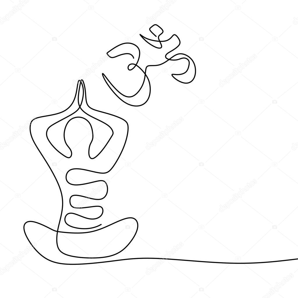Namaste Concept Continuous One Line Drawing Of Yoga Symbol For Meditation And Relaxation Premium Vector In Adobe Illustrator Ai Ai Format Encapsulated Postscript Eps Eps Format