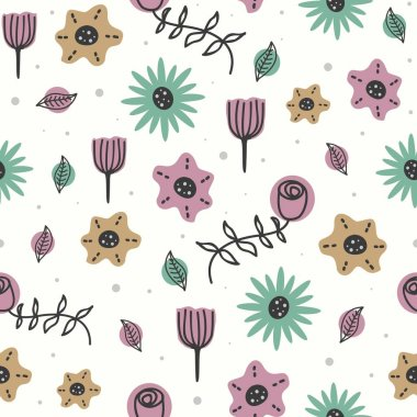 Cute flowers pattern with seamless drawing of scandinavian style for baby and kids fashion textile print