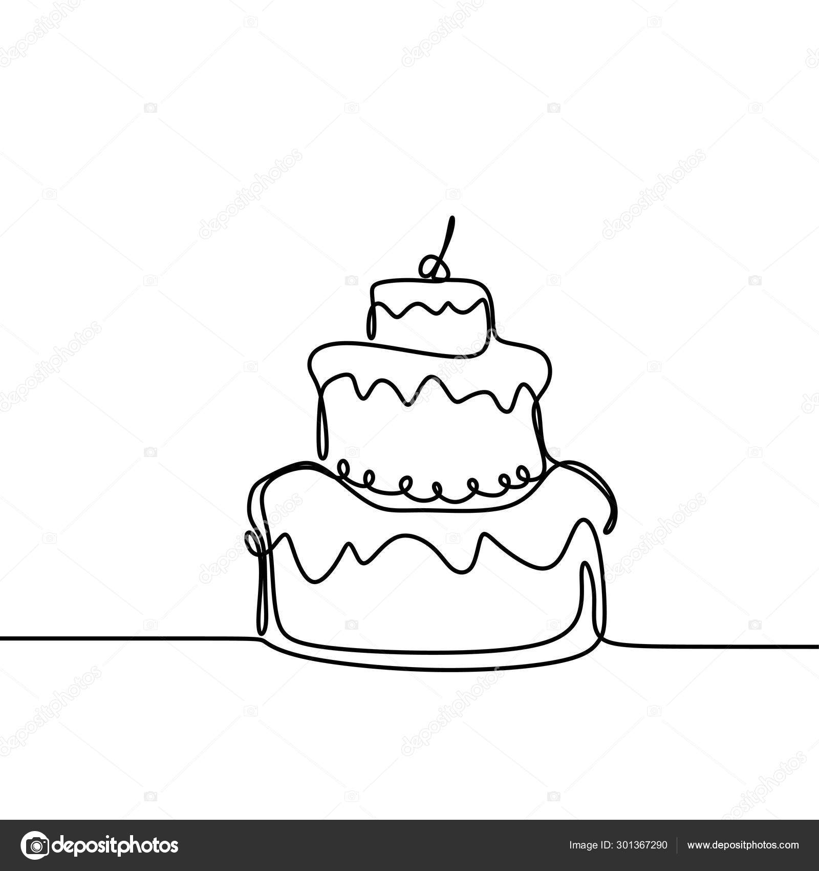 Fabulous Continuous Line Drawing Birthday Cake With Candle Symbol Of Funny Birthday Cards Online Eattedamsfinfo