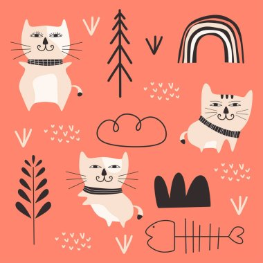 Cat cartoon drawing set design vector illustration pack collections. Cute characters. icon
