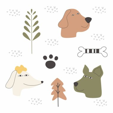 Dog cartoon drawing set design vector illustration pack collections. Cute characters. icon