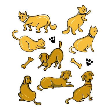 Cat and dog cartoon drawing set design vector illustration pack collections. Cute characters. icon