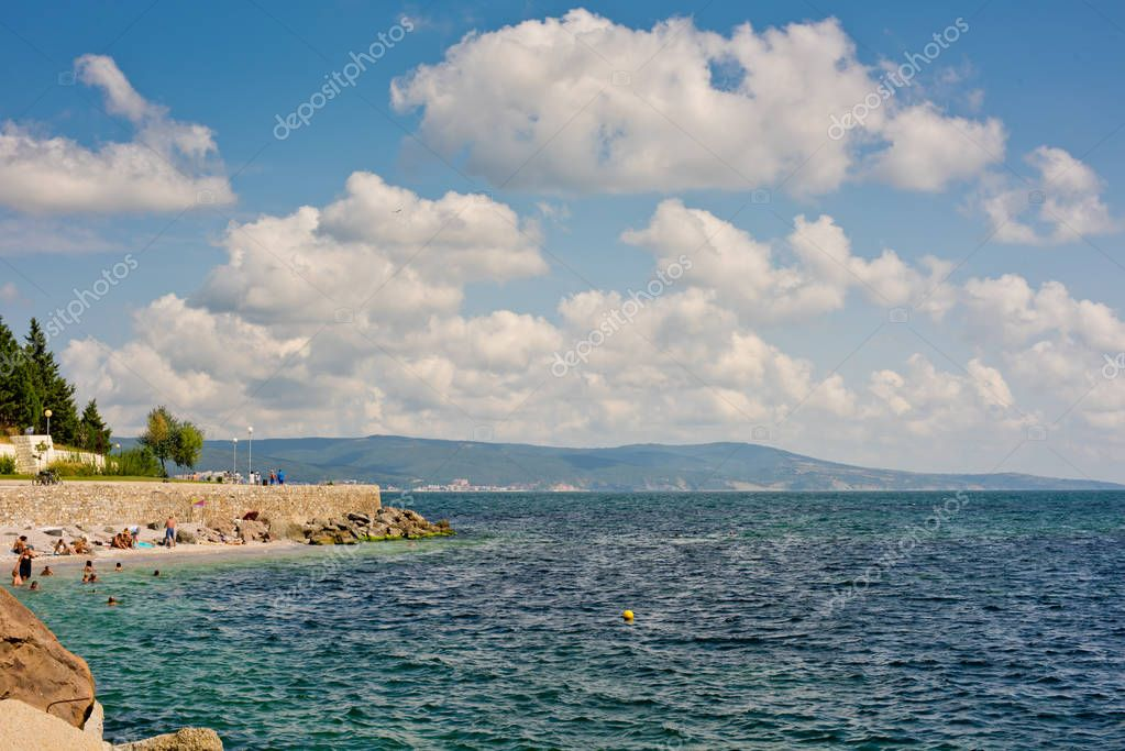 Nessebar, Bulgaria - August 27, 2018: City beach of the city.