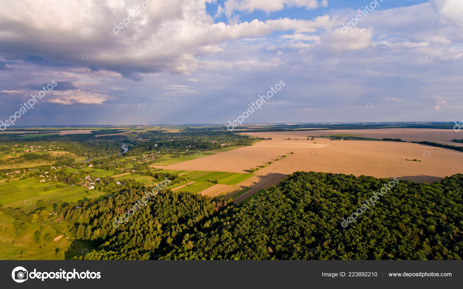 Aerial View Fields Forest River Beautiful Landscape Nature