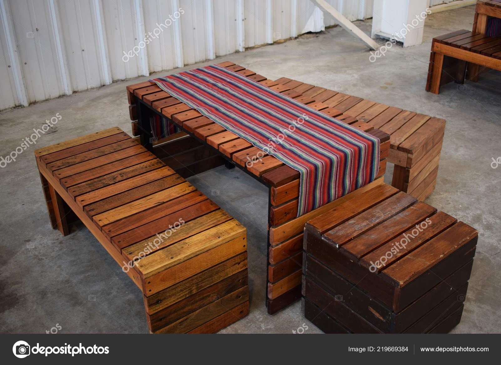 Wooden Bench Table Street Restaurant Stock Photo C Yofoto 219669384