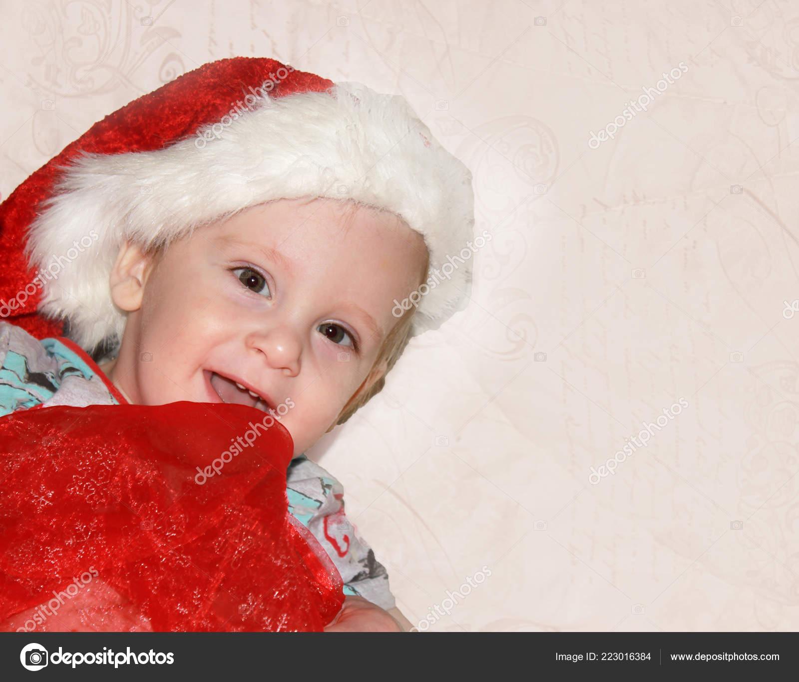 f0853a9b6 Closeup Portrait Cute Little Baby Boy Wearing Red Santa Claus ...