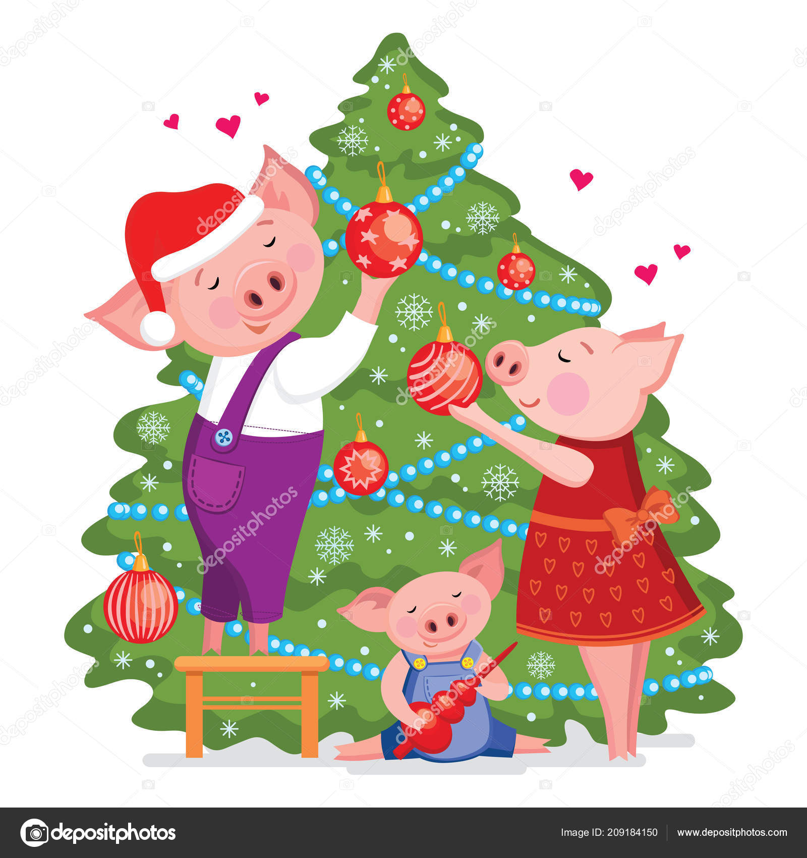 christmas and happy new year card with cute lovely family of pigs decorate a xmas tree vector illustration isolated on white backgroud vector by nastya