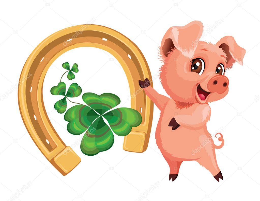 niedliche schweinchen mit hufeisen und kleeblatt für glück