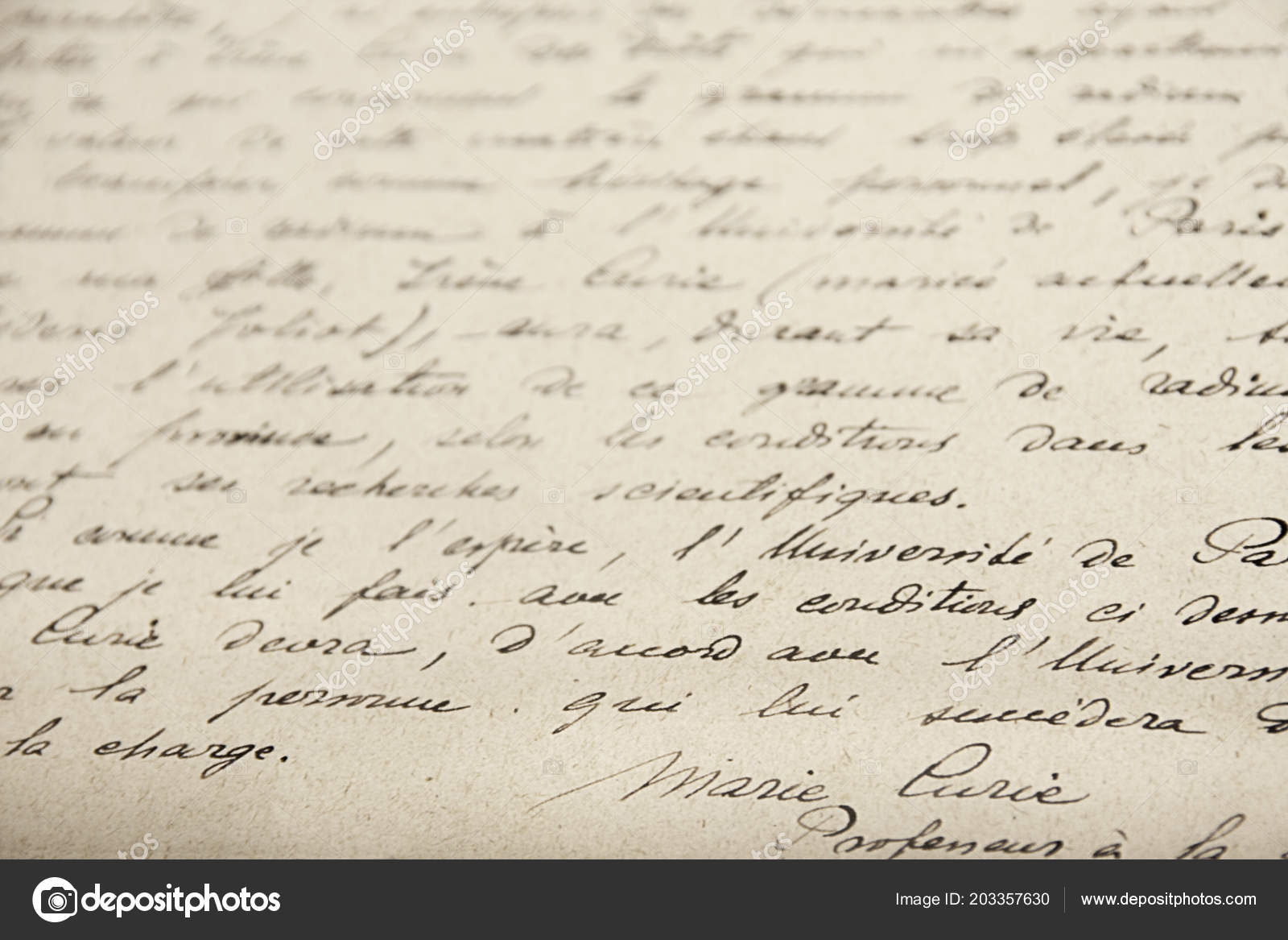 Marie Curie Handwrited Document Stock Photo Image By C Procy 203357630