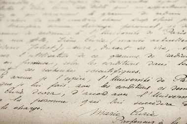 Marie Curie handwrited document