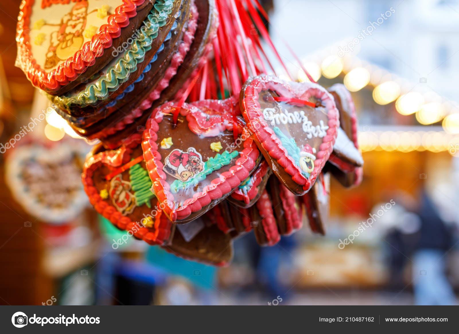 Peperkoek Hart Op Duitse Kerstmarkt Neurenberg Munchen Berlijn