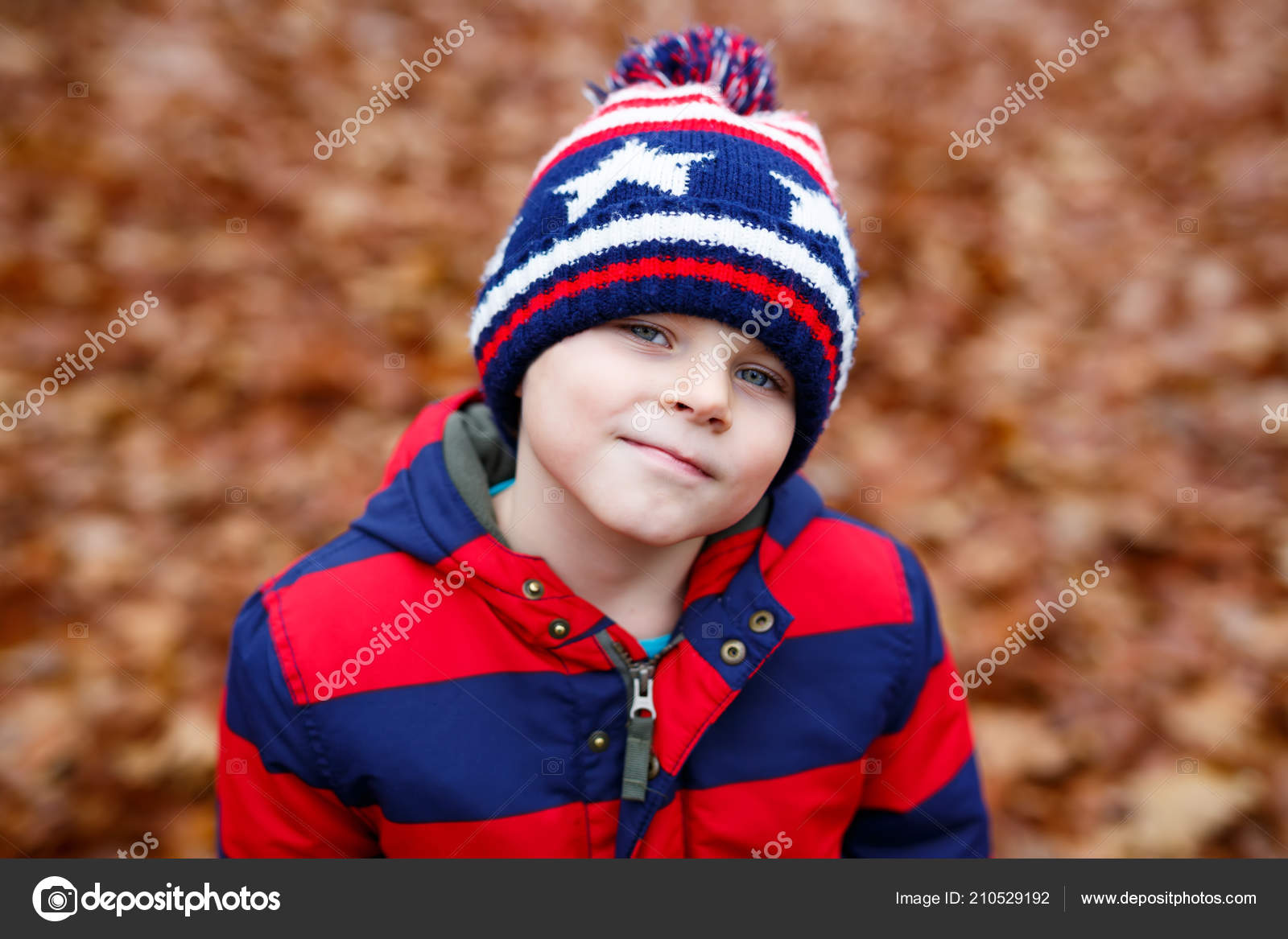 3e061e82914 Portrait of happy cute little kid boy with autumn leaves background in  colorful clothing. Funny child ...