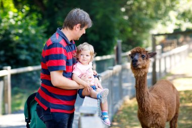 Adorable cute toddler girl and young father feeding lama on a kids farm. Beautiful baby child petting animals in the zoo. man and daughter together on family weekend vacations stock vector