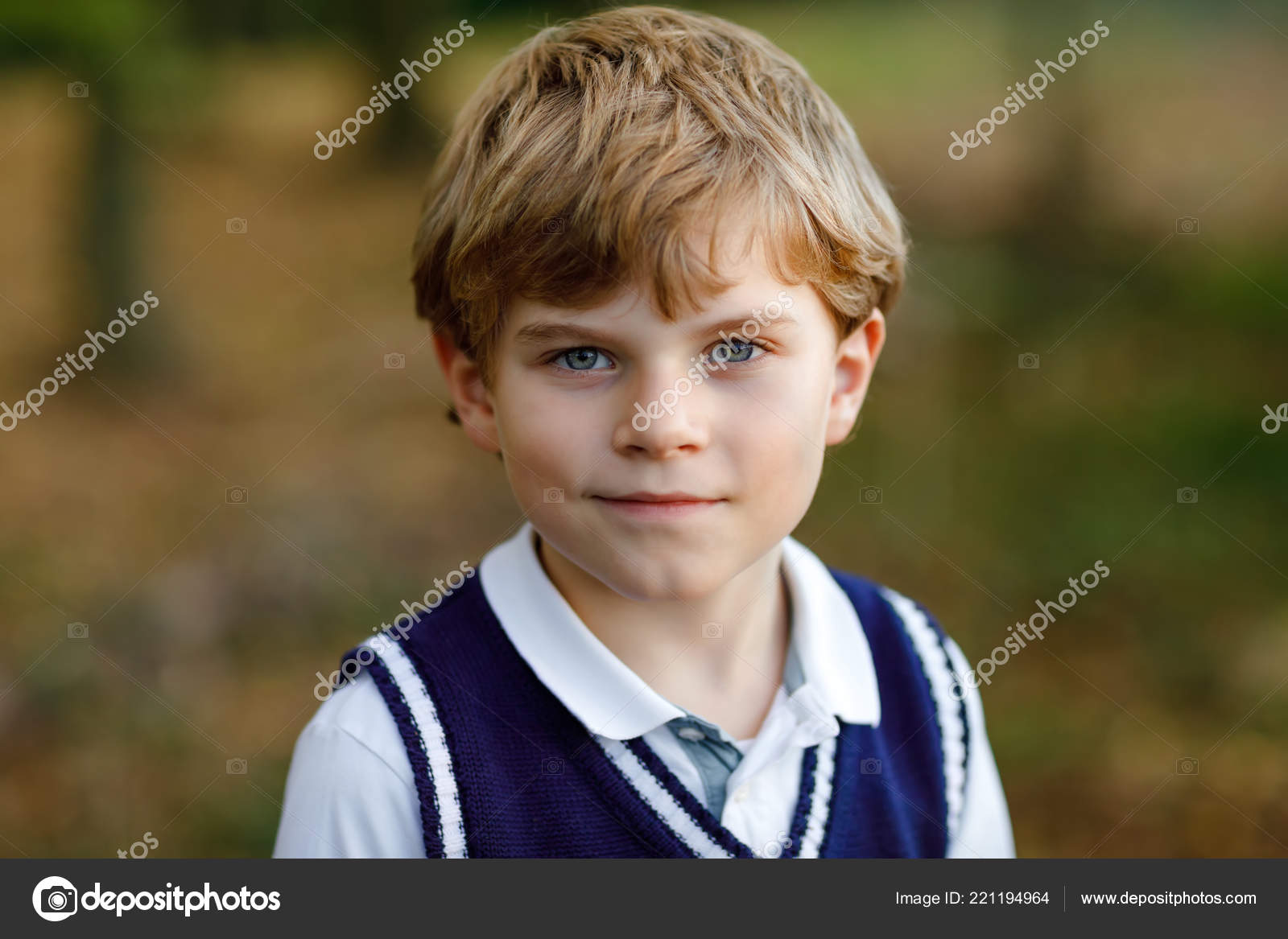 Portrait Of Little Cool Kid Boy In Forest Happy Healthy Child