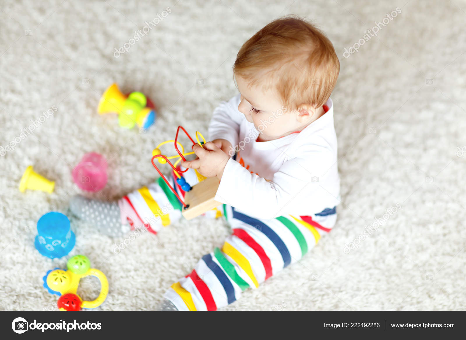 Adorable Baby Girl Playing With Educational Toys In Nursery Happy